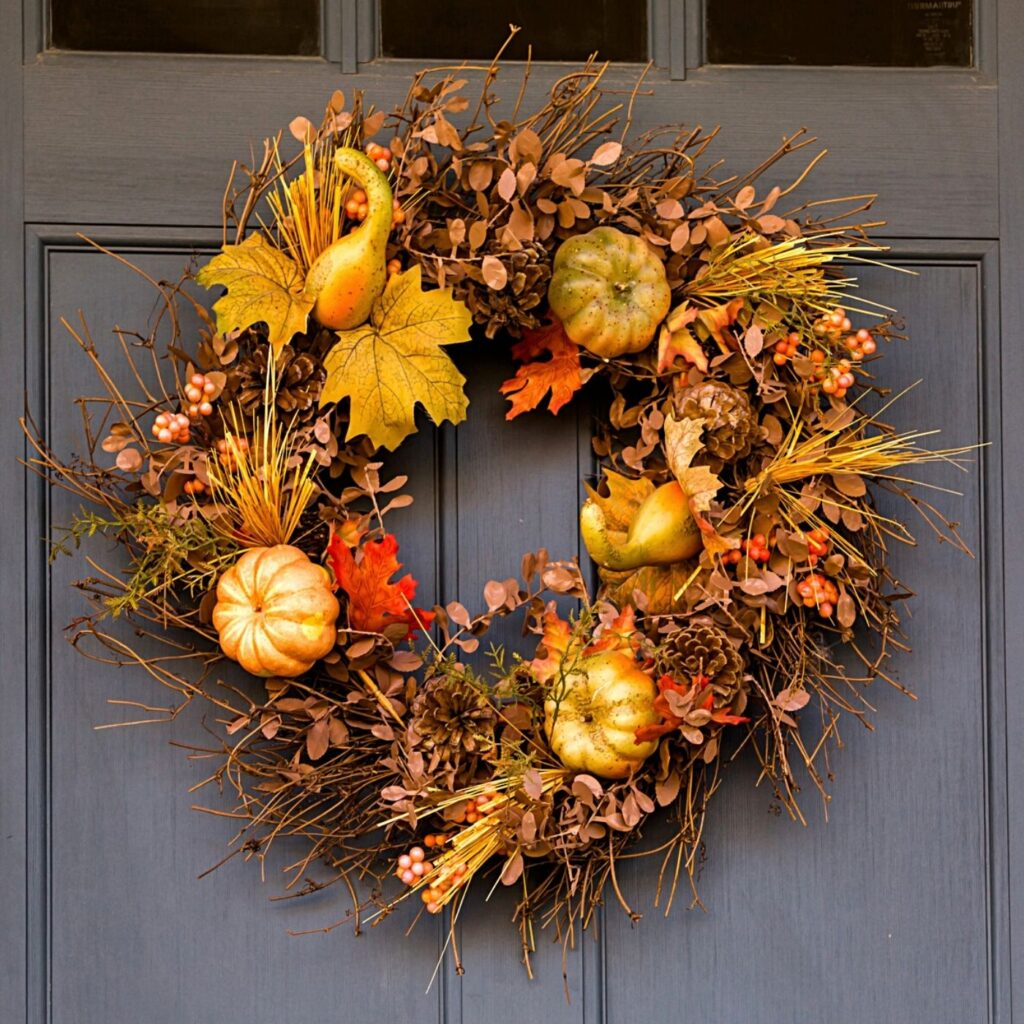 Decorating with pumpkins and gourds.  Fall Wreath with Pumpkins