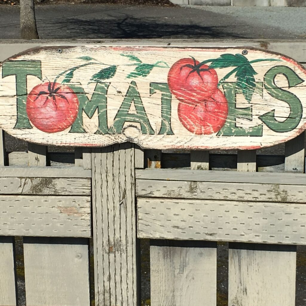 """Fun Ideas for Garden Decor to Inspire You - Rustic Garden Signs - hand painted sign that says """"tomatoes"""""""