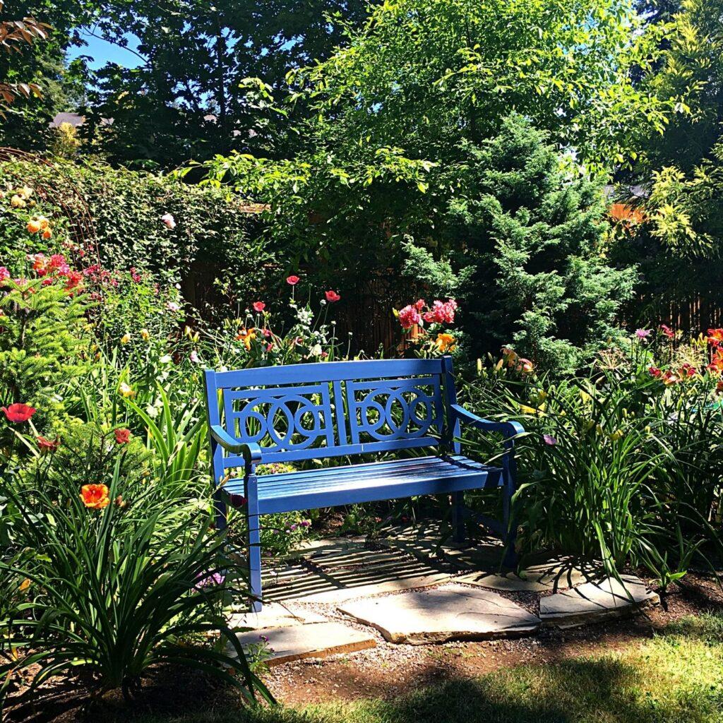 Fun Ideas for Garden Decor - Garden Focal Point - Garden Bench Surrounded by Flowers