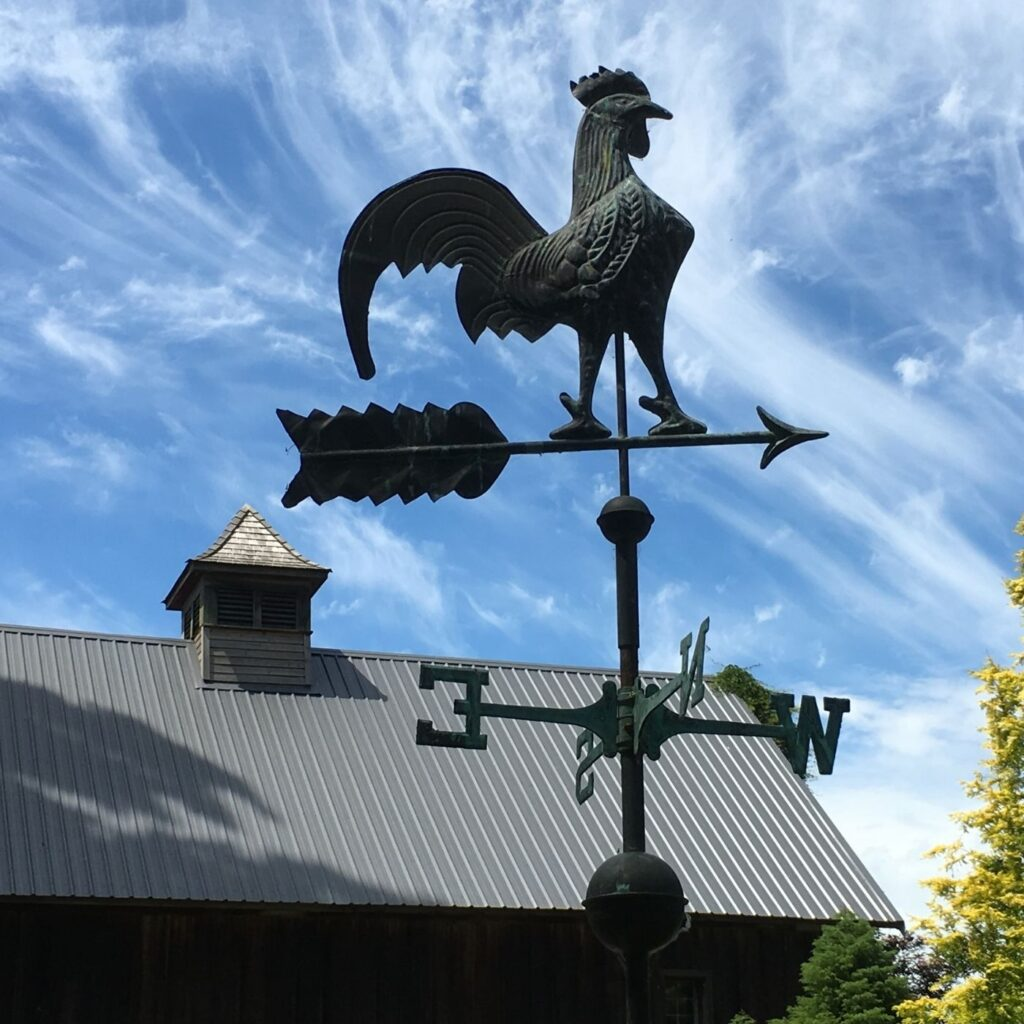 Garden Weathervane - Rooster with the sky as the backdrop