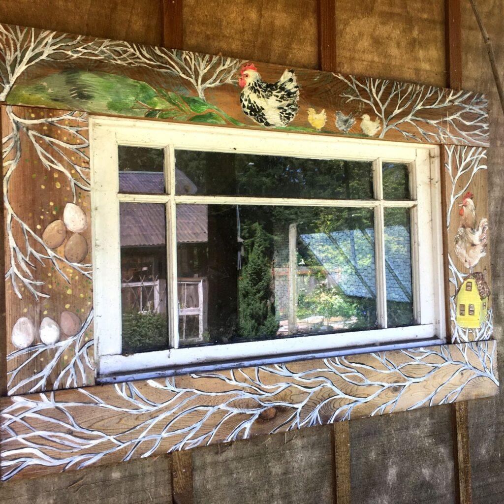 Hand Painted Chicken Coop Window Frame