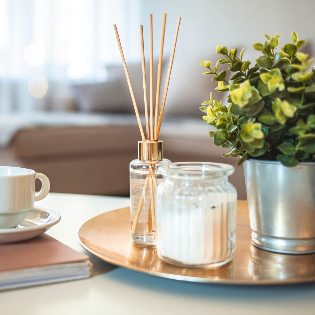 How to Keep a Tidy Home - Coffee table with diffuser, plant, candle, and cup of coffee on top of a book.