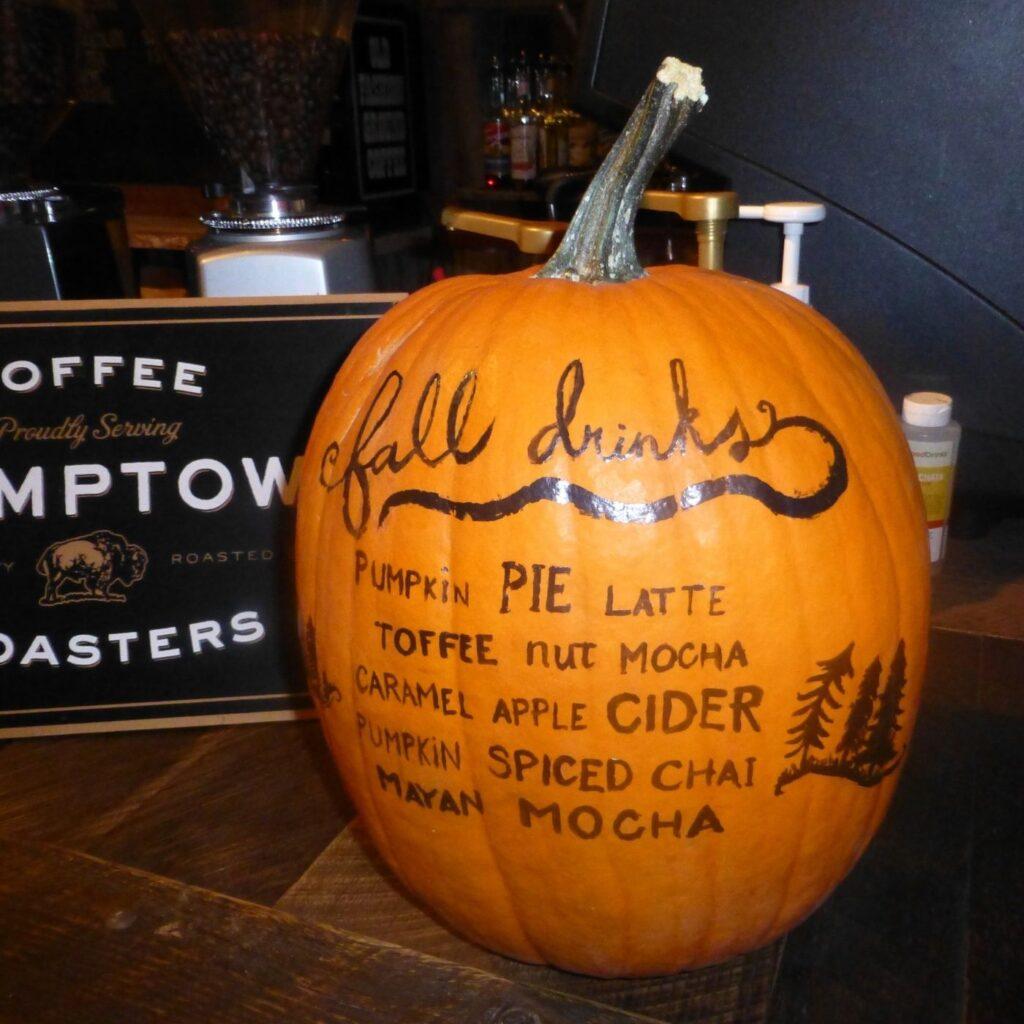 Fall Decorating with Gourds, Squash, and Pumpkins - Pumpkin menu board