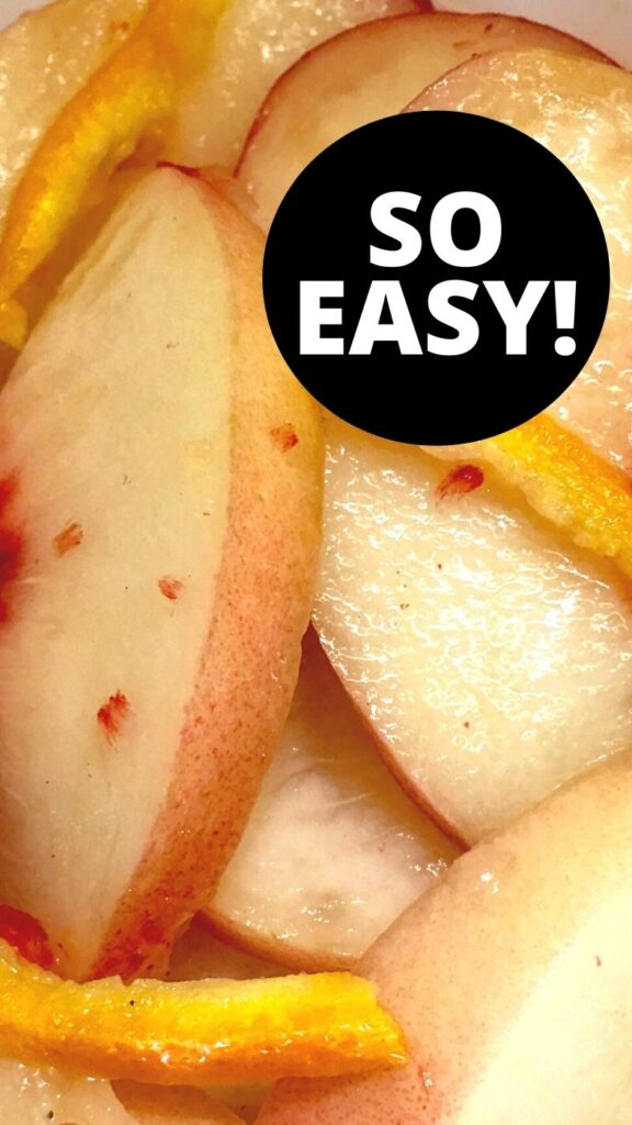 Wine Soaked White Peaches Close-up Photo with So Easy on top