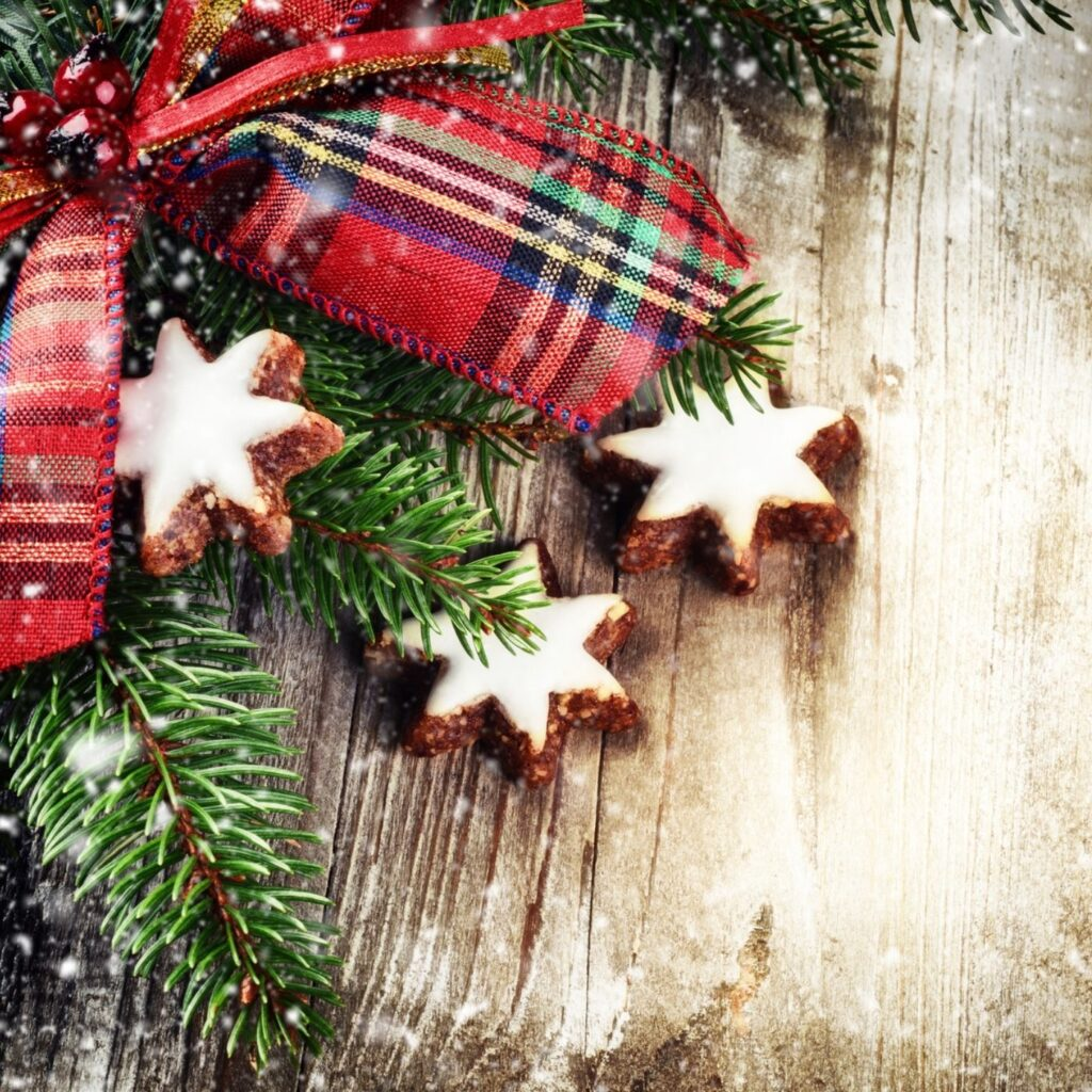 55 Old Fashioned Christmas Ideas - Rustic background evergreen with plaid bow and star cookies