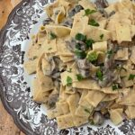Easy Mushroom Stroganoff Recipe on a Brown and White Transfer Ware plate