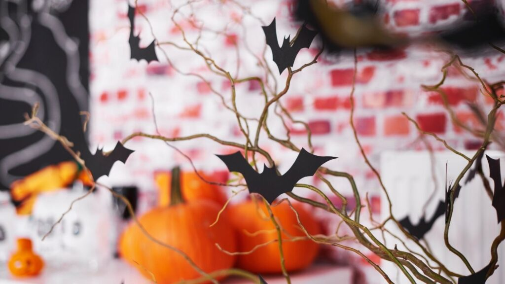 Halloween bat tree made out of branches
