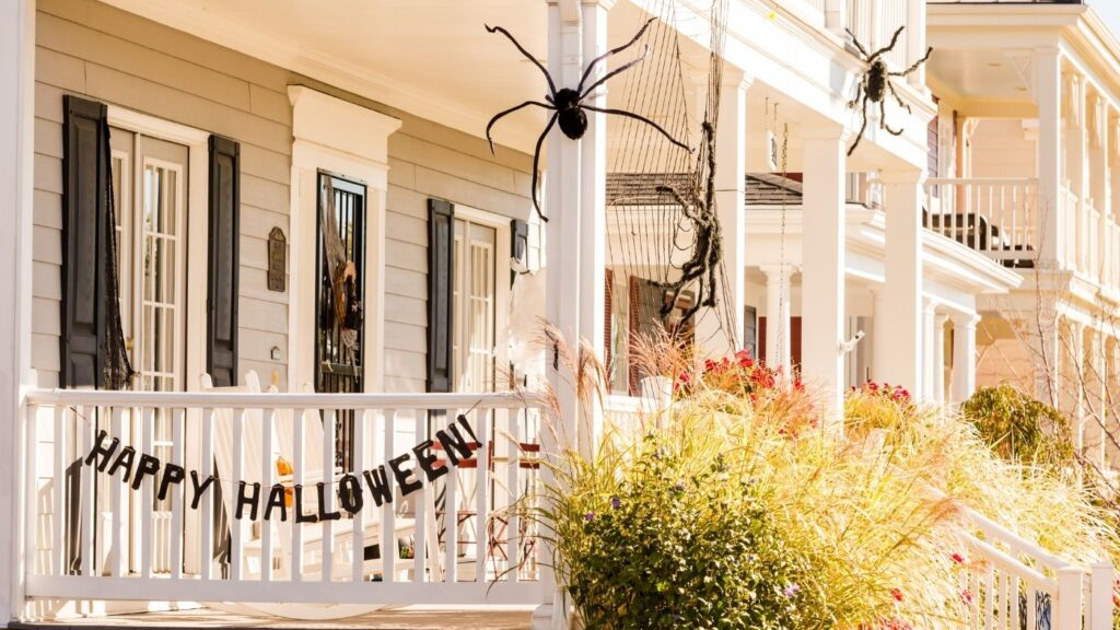 Halloween porch with spider webs and spiders