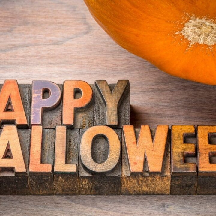 Simple Ideas for Halloween - Vintage wood ink blocks spelling out Happy Halloween and a pumpkin
