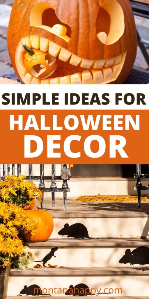 Simple Ideas for Halloween Decorating - Pin for Pinterest.  Top photo a carved pumpkin eating another pumpkin.  The bottom photo is black rats on the steps of a house.