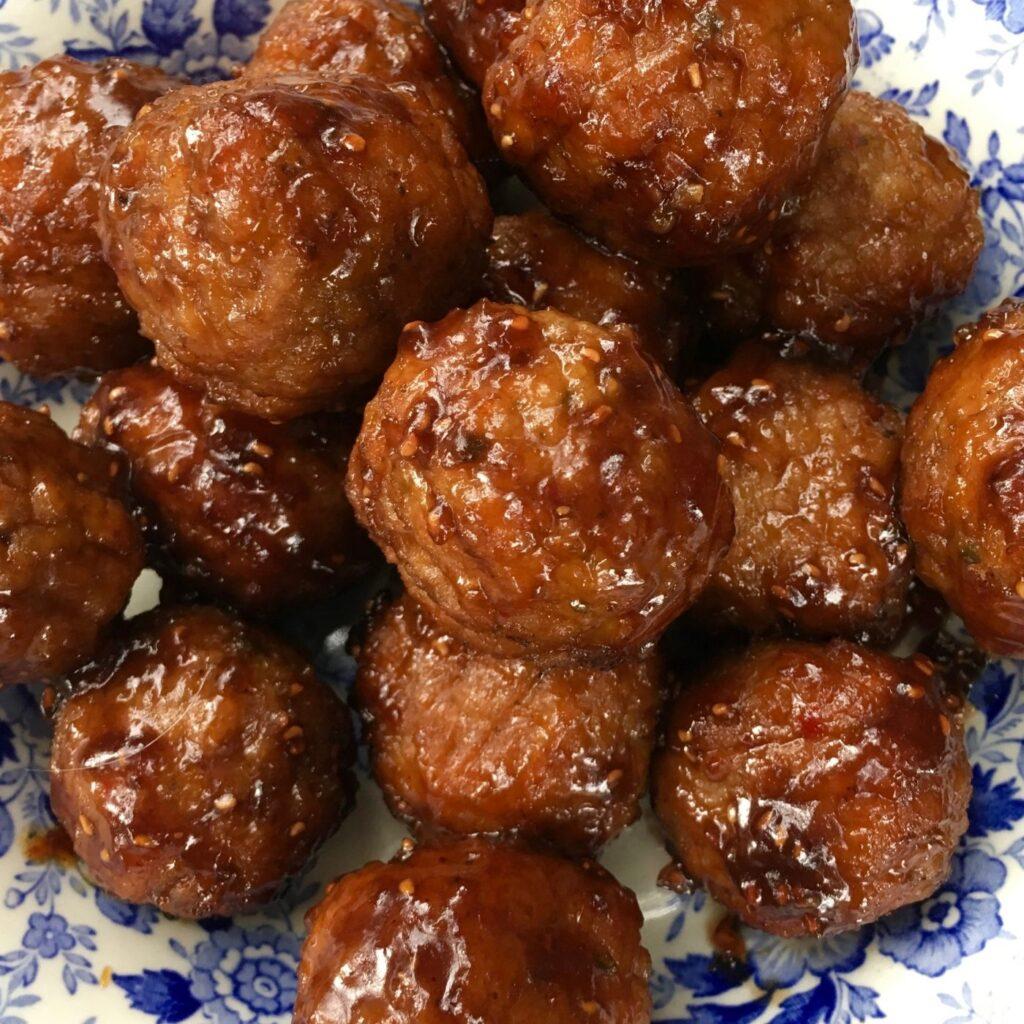 Slow Cooker Raspberry Balsamic Meatballs
