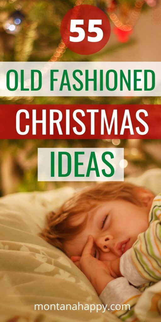 55 Old Fashioned Christmas Ideas and Traditions Pin for Pinterest - Little boy sleeping under Christmas tree at night