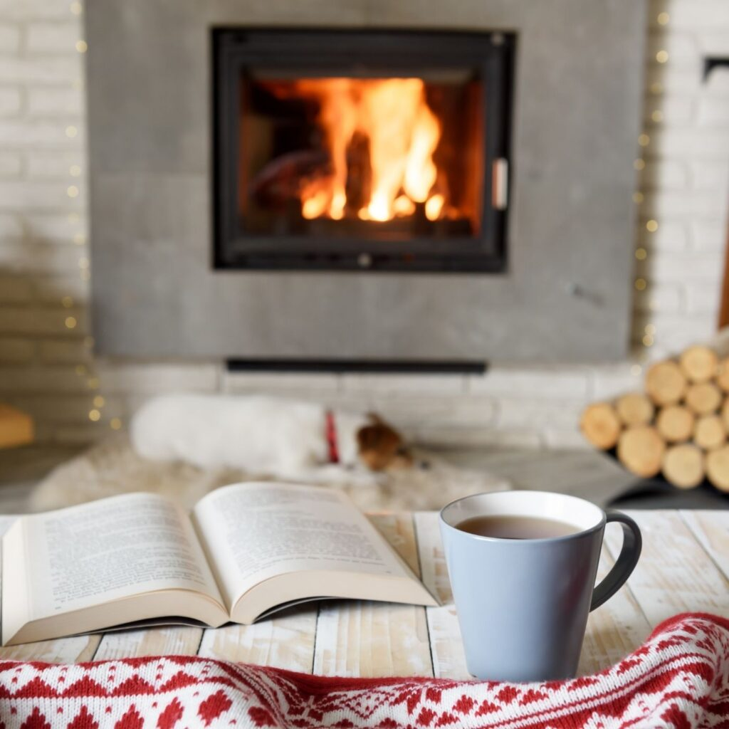 How to Hygge: 31 of the Best Cozy Ideas - table, book, coffee, scarf, and dog in front of a fireplace