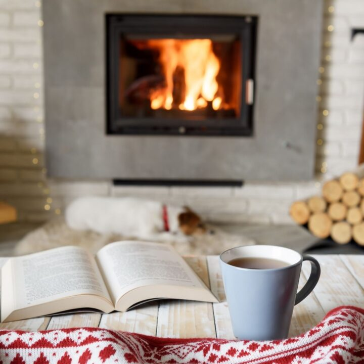 How to Hygge: 31 of the Best Cozy Ideas - Table with book, coffee, scarf, and dog in front of a fireplace