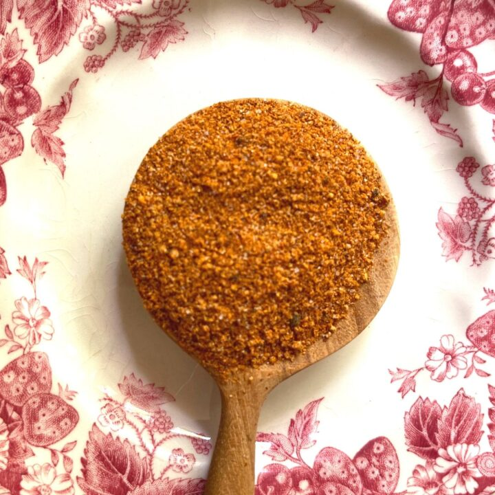Nashville Hot Chicken Spice Mix on a Wooden Spoon