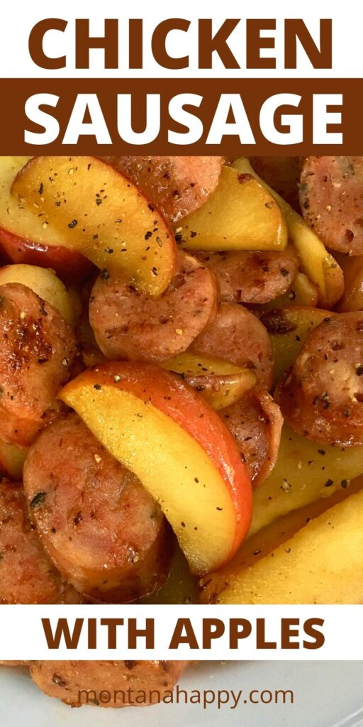 Skillet Chicken Sausage with Apples Pin for Pinterest